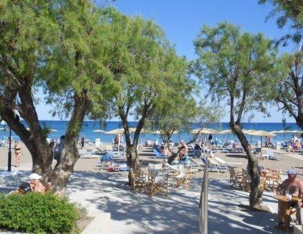 Hier erkennt man einen schönen Strand mit weißem Sand. Einige Menschen liegen in der Sonne . Vor dem Strand sind Bäume, die Schatten spenden. Im Hintergrund sieht man ein strahlend blaues Meer und eine strahlend blauen Himmel.